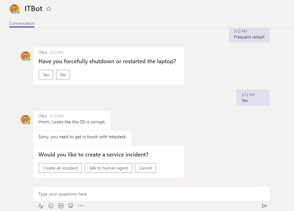 Human Hand-off in Service Desk Bots - BotCore